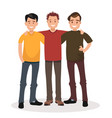concept of male friendship three guys hug vector image vector image