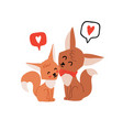cute couple foxes hugging vector image vector image