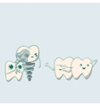 Cute dental implant robot and teeth vector image