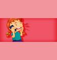 cute girl talking on phone cartoon character vector image