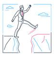 determined businessman - line design style vector image