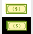 dollar banknote icons isolated on white and black vector image vector image