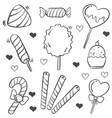doodle of candy sweet various vector image vector image