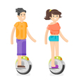 flat style of young man and woman riding an vector image vector image