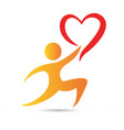 gift giving people charity love heart logo vector image vector image