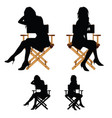 girl silhouette sitting on the chair set vector image vector image