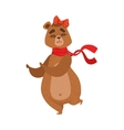 Girly Cartoon Brown Bear Character With The Bow vector image