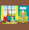 grandparents playing with grandchildren at home vector image