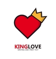 heart logo Heart with a golden crown vector image vector image