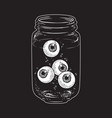 human eyeballs in glass jar hand drawn vector image vector image