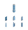 isometric building set of skyscraper business vector image vector image