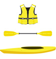 Life jacket kayak boat and oar vector image