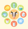 milk products dairy products flat design vector image vector image