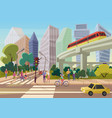 modern urban cartoon city street with young people vector image vector image