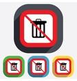 No Recycle bin sign icon Bin symbol vector image vector image