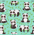 panda and bamboo seamless pattern cute pandas vector image vector image