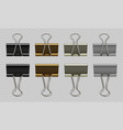 paper clips set black white gold gray realistic vector image vector image