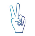 peace hand gesture on gradient color silhouette vector image vector image