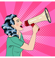 Pop Art Style Woman with Megaphone vector image vector image