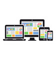 responsive web design on different devices vector image vector image