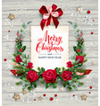rose winter wreath vector image vector image