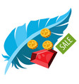 sale feather ruby and coins colored for design vector image vector image