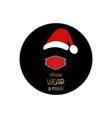 santa claus head label with red surgical mask logo vector image