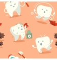 Seamless pattern with cute tooth vector image vector image