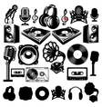 set of retro templat for karaoke disco party vector image vector image