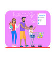 shopping list and plan for young cheerful family vector image