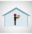 silhouette worker delivery box storage vector image