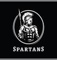 spartan warrior in armor symbol logo on a dark vector image vector image