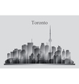 Toronto city skyline silhouette in grayscale vector image
