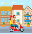 traveling people couple on scooter in old town vector image vector image
