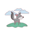 wolf cartoon in outdoor scene with clouds on vector image