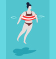woman with swimsuit and striped inflatable ring in vector image
