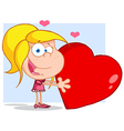 Young Girl Holds A Red Heart vector image