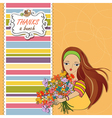 young girl with a bunch of flowers vector image