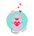 sweet card for valentines day with purple cat vector image