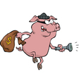 pig robber with money bag vector image