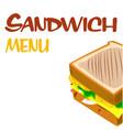 sandwich menu sandwich background image vector image