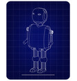 3d model of the robot on a blue vector image vector image