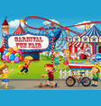 an outdoor funfair scene with many children vector image