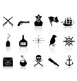 black pirate icons set vector image vector image