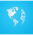 blue striped world map america vector image