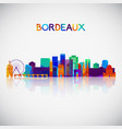 bordeaux skyline silhouette in colorful geometric vector image vector image