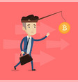 businessman trying to catch bitcoin on fishing rod vector image vector image