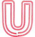 Capital letter U drawing with Red Marker vector image vector image