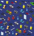 car service seamless pattern background isometric vector image