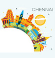 chennai india skyline with color landmarks blue vector image vector image